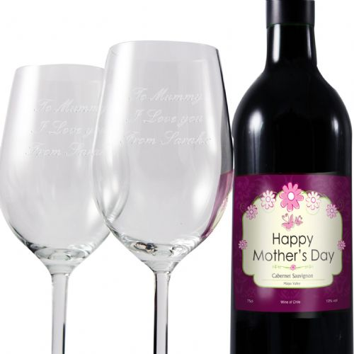 Personalised Mothers Red Wine and Two Glasses